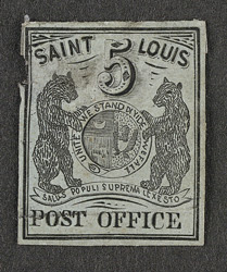 United States: Postmasters Provisional St Louis 1845-46 5 cents, unused.